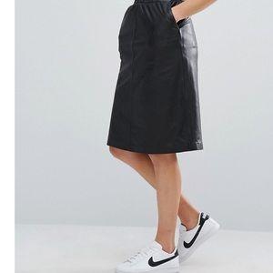 Black Leather knee length pencil skirt